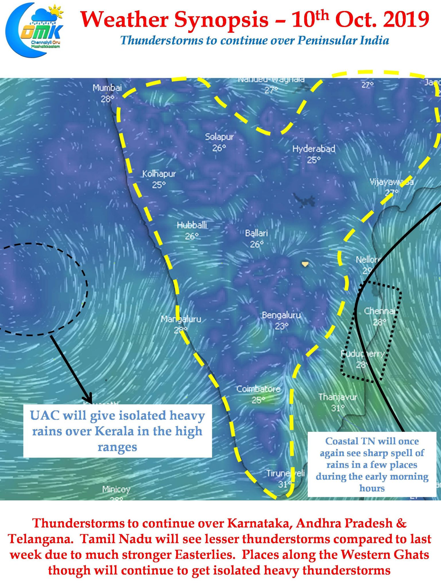Thunderstorms over South India